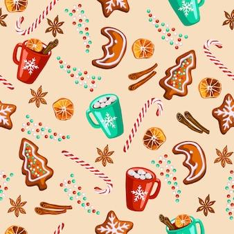 クリスマスのジンジャーブレッド、ホットワイン、ココアのシームレスパターン