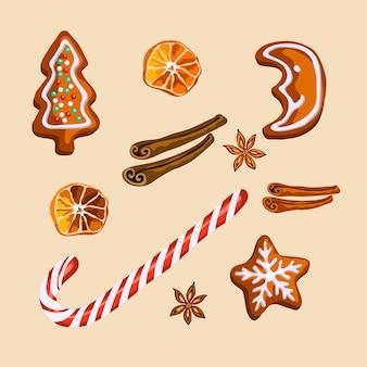 クリスマスのジンジャーブレッドのクッキーと分離されたスパイス