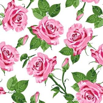 Розовые розы и листья бесшовные модели