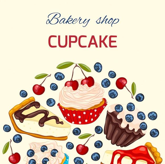 甘いデザートのグリーティングカードテンプレート
