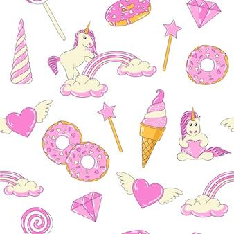 Бесшовный фон с милыми сказочными единорогами, пончиками, радугой, сердцем с крыльями, драгоценным бриллиантом