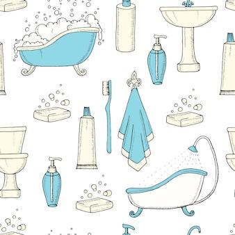 手はバスルームオブジェクトとヴィンテージのシームレスなパターンを描画します。