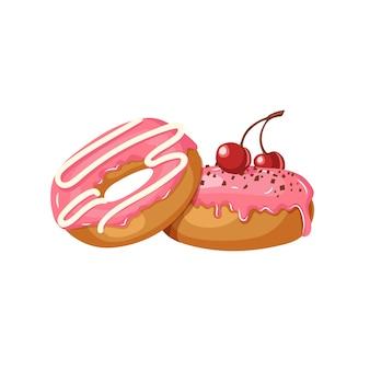 Набор сладких пончиков. розовые глазированные пончики с вишней и шоколадной стружкой, изолированные на белом.