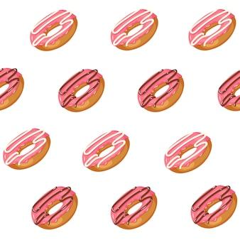 白で隔離される艶をかけられたピンクのドーナツとのシームレスなパターン。