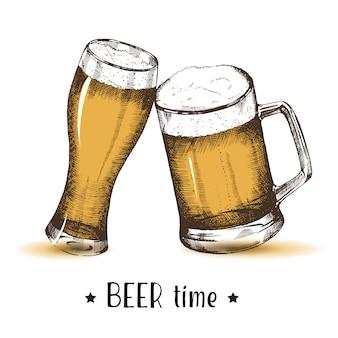 手描きのビールのグラス。オクトーバーフェストスケッチ、フリーハンドでの描画。