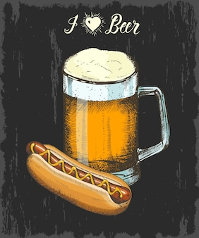 ビールとホットドッグの手描きゴブレットで設定します。手作りのレタリング。スケッチ。メニュー、ポスター、バナーのオクトーバーフェストオブジェクト