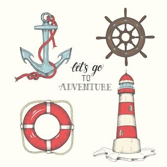 手描きベクトルアンカー、灯台、救命浮輪とホイール