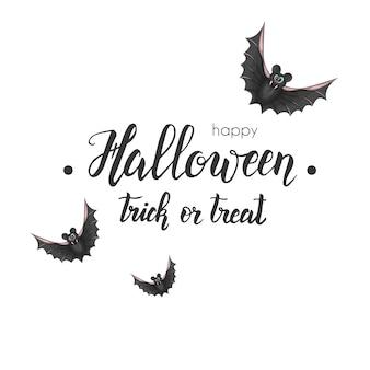 Хэллоуин праздник каллиграфии с ручной надписью и битой на белом.