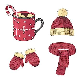 Рождественский набор зимних символов.