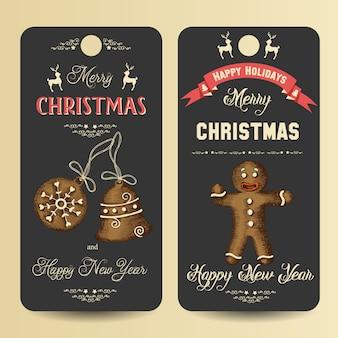 碑文とジンジャーブレッドの挨拶とクリスマスバナー