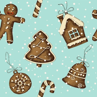 クリスマスの手でシームレスなパターンには、ジンジャーブレッドが描かれています