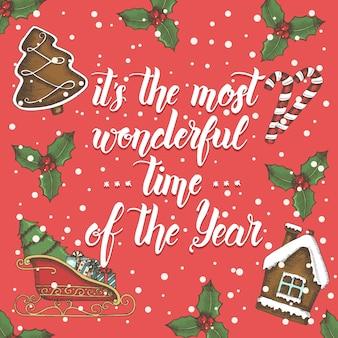 手作りのレタリングとクリスマスの背景