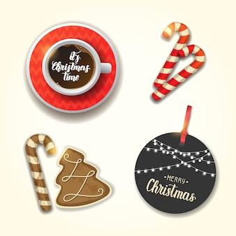 クリスマスオブジェクトのセット。一杯のコーヒー、お祝いのジンジャーブレッド、杖、グリーティングタグ。手作りのレタリング。メリークリスマス、そしてハッピーニューイヤー。