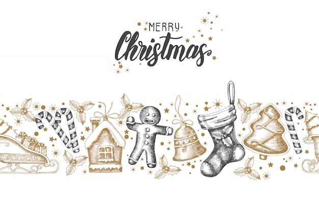 シームレスなトレンディなパターンの手で描かれたゴールデンブラッククリスマスオブジェクト