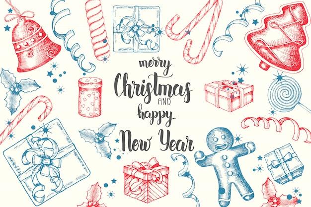 Рождественский фон с рисованной каракули холли, колокольчики, пряники, сани и рождественские носки.