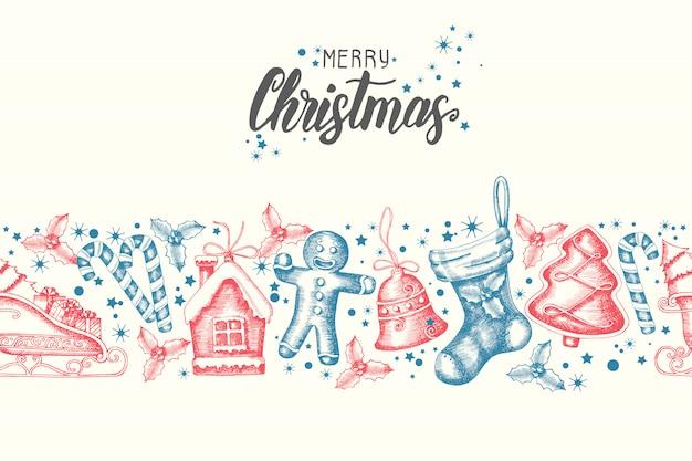 手でシームレスなトレンディなパターンには、クリスマスオブジェクトが描かれています。
