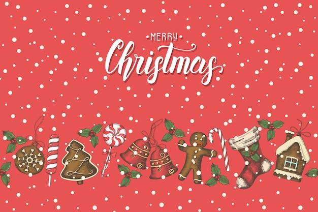 手でビンテージのシームレスパターン描画クリスマスオブジェクトと手作りのレタリング