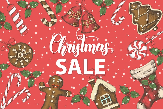 手描きのヒイラギの葉、鐘、ジンジャーブレッド、クリスマス靴下とお祝いクリスマスの背景。