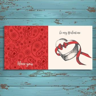 Поздравительная открытка на деревянном. с днем святого валентина.