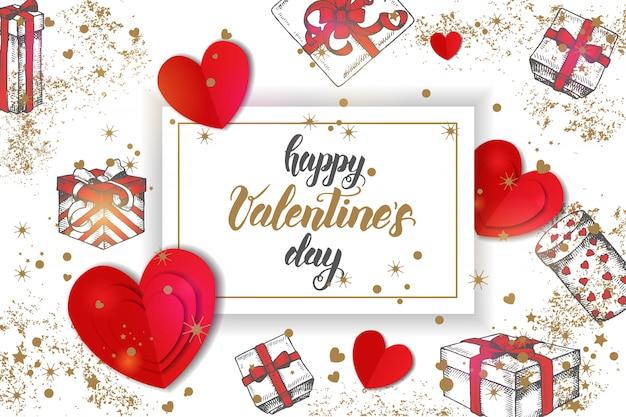 Праздничные валентина с рисованной пустяком подарки, золотые конфетти и картонные сердца на белом.