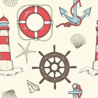 航海のシームレスパターン。手描きのビンテージアンカー、灯台、シェル、救命浮輪、ハンドル