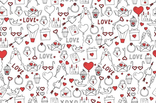 バレンタインデーのシームレスなパターン、手描きの愛のシンボル