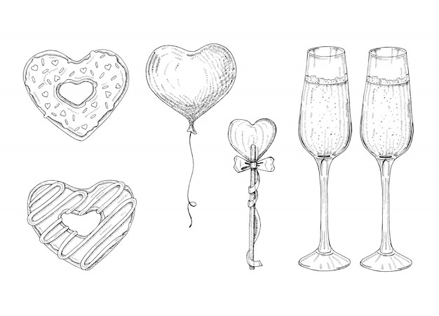 День святого валентина набор с каракули рисованной объектов в стиле эскиз-леденец, глазированный пончик, бокал шампанского. объекты в форме сердца. символы на день святого валентина