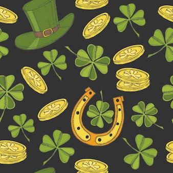 聖パトリックの日のヴィンテージのシームレスなパターン。聖パトリックの帽子、蹄鉄、四つ葉のクローバー、金貨。