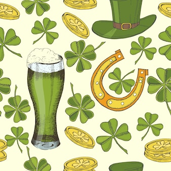聖パトリックの日のヴィンテージのシームレスなパターン。聖パトリックの帽子、蹄鉄、四つ葉のクローバー、緑色のビール、金貨。