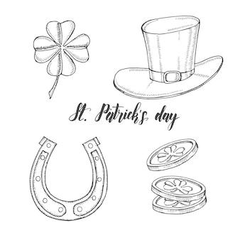 聖パトリックの日の手描きヴィンテージセット。聖パトリックの帽子、蹄鉄、四つ葉のクローバー、金貨。レタリング。イラストの彫刻