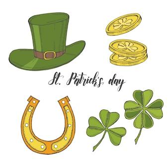 Вручите оттянутый старинный набор для дня св. патрика. шляпа святого патрика, подкова, четырехлистный клевер и золотые монеты. надпись. гравюры иллюстраций