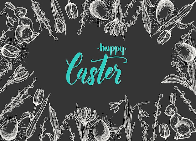 Весенняя пасхальная открытка с рисованной пасхальное яйцо, шоколадный заяц, ландыши, тюльпан, подснежник, крокус, ива. ручная надпись - с праздником пасхи