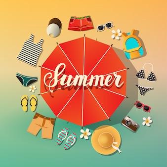 Летний фон. летние символы расположены вокруг зонтика от солнца пляж и море. надпись