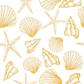Бесшовный фон с желтыми ракушками. летний векторный дизайн.