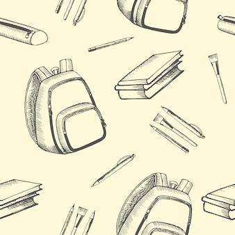 学校のためのアクセサリーとのシームレスな背景。学校に戻る。アイコンは黒に手で描かれています。