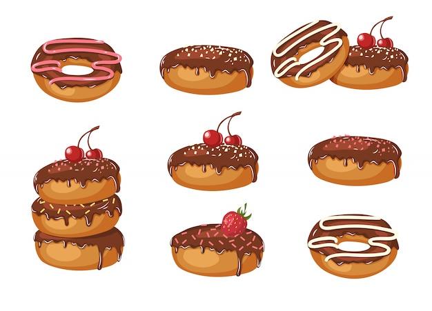 Набор сладких шоколадных глазированных пончиков с порошком, вишней, клубникой и шоколадным кремом, изолированных на белом. пищевой дизайн.