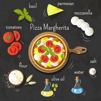 Пицца маргарита на доске. ингредиенты для пиццы. набор кулинарных изделий. графика.
