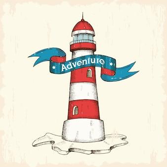 ビンテージベクトル手描き灯台