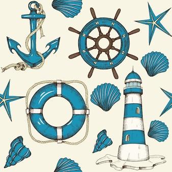手でヴィンテージ航海シームレスパターンには、アンカー、灯台、シェル、救命浮輪、ホイールが描かれています。