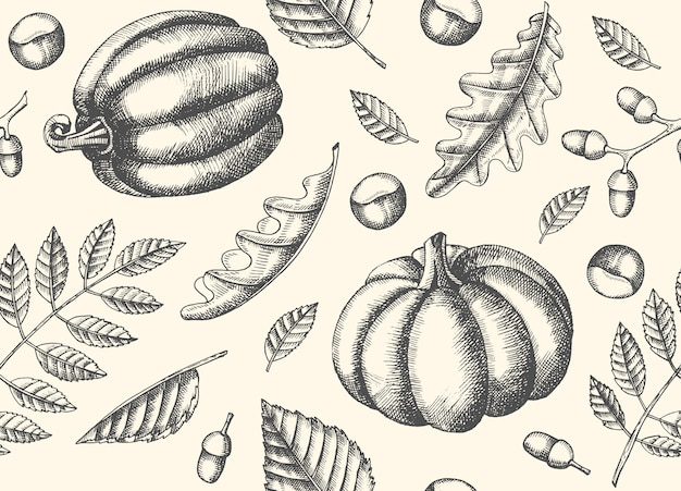 手で秋のシームレスパターンには、葉とカボチャが描かれています。カエデ、カバノキ、クリ、ドングリ、トネリコ、オークの葉。スケッチ。壁紙用