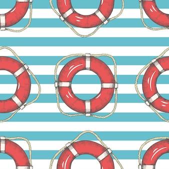 手でシームレスパターン描画救命浮輪とストライプ