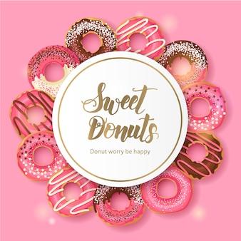 艶をかけられたピンクおよびピンクのチョコレートドーナツの甘いパン屋さんフレーム。手作りのレタリング