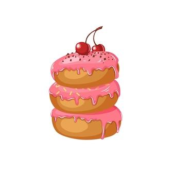 白で隔離されるチェリーとチョコレートチップとピンクの艶をかけられたドーナツ。