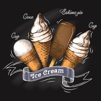 黒板チョークでアイスクリームのセットです。スケッチ。夏の季節図