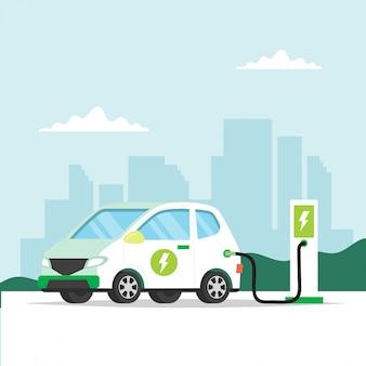 電気自動車が街の背景で充電します。環境のための概念図