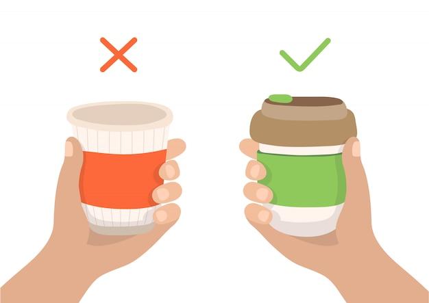 再利用可能なコーヒーカップと使い捨てカップ-廃棄物ゼロの概念図