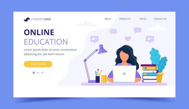 コンピューターで勉強している女の子とオンライン教育のランディングページ。