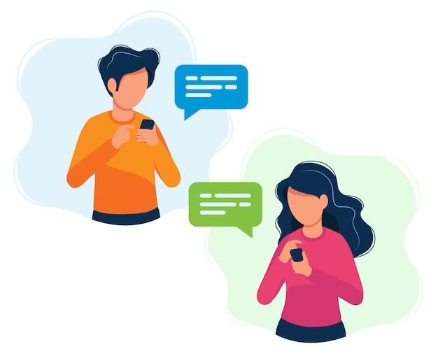 Мужчина и женщина со смартфонами