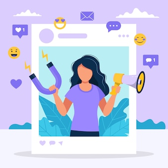 Иллюстрация с женщиной, держащей мегафон и магнит в социальной рамке профиля.