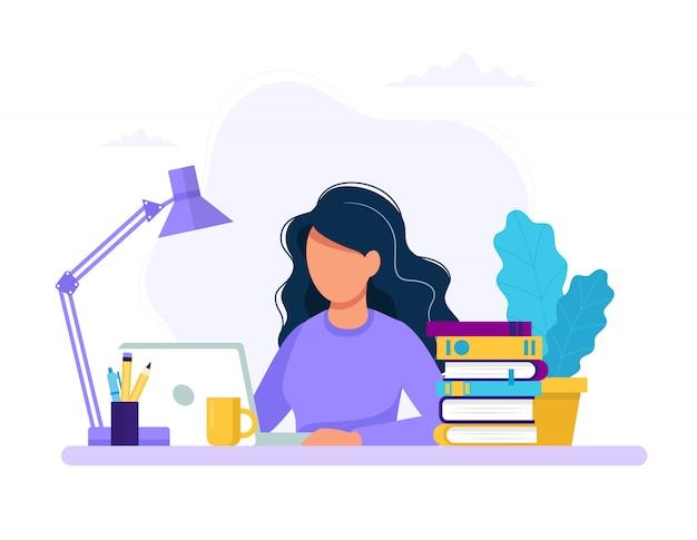 ノートパソコン、教育、または作業の概念を持つ女性。